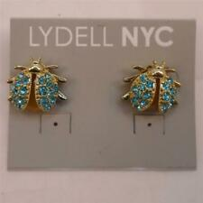 LYDELL NYC AQUA RHINESTONE BEETLE INSECT GOLD STATEMENT EARRINGS FREE SHIP NL