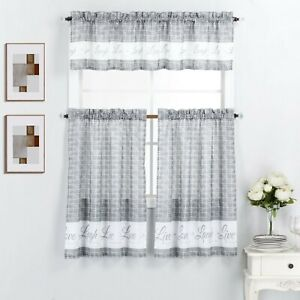 3 Piece Kitchen Window Curtain Panel Tiers & Valance Set - Various Designs