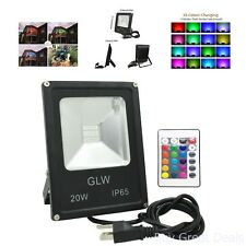 GLW 20W LED RGB Flood Light, Remote Control Waterproof Outdoor Security Light