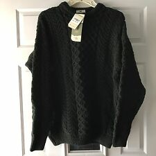 CARRAIG DONN Men's Irish Aran Fishermans Cable Sweater Green Size Large NWT
