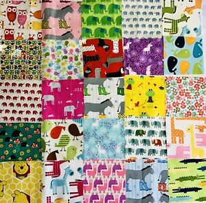 """25 Assorted Animal Fabric 4 1/2"""" Charm Squares - 100% Quality Cotton 4 Patchwork"""