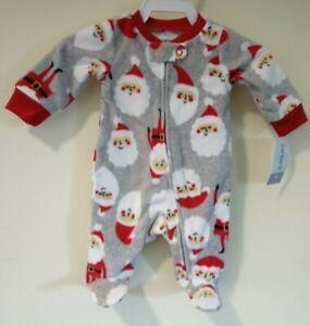 New Carter's Santas Footed Pajama Sleeper Size Newborn