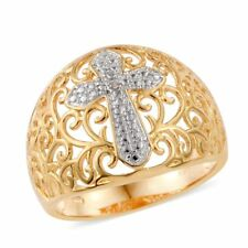 DIAMOND GENUINE DIAMOND ACCENT CROSS 18K  PLATINUM ION BRASS FILIGREE RING 10