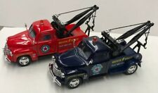 1953 Chevy 3100 Tow Truck Diecast, 1:38 Scale Pull Back Action Set Of 2 Red/Blue
