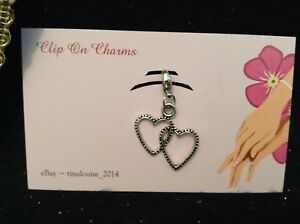 Clip on Charm - Double Heart - For Link Bracelets and Zippers