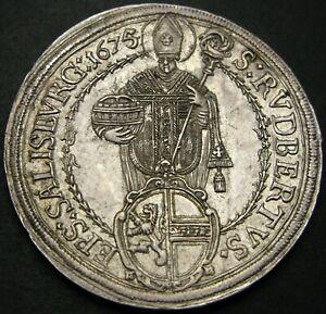 SALZBURG (Austria) Thaler  1675 - Silver - Max Gandalf von Kuenburg - XF - 2370*