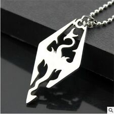 HOT The Elder Scrolls Skyrim Dragon Men's Stainless Steel Pendant Necklace