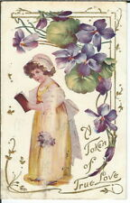 BA-396 A Token of True Love, Girl with Book, Embossed, 1907-1915 Postcard