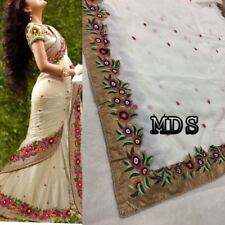 White Indian Bollywood Designer Georgette Saree Embroidery Sari Party Wear Dress