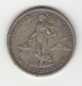 1904 S PHILIPPINES SILVER 50 CENTAVOS