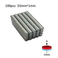 100pcs NEODYMIUM/RARE EARTH MAGNET - Buttonhole 3mm x 1mm - N52