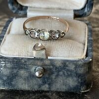 Antique Art Deco 9ct Rose Gold and Silver Paste Glass Diamond Ring UK K 1/2