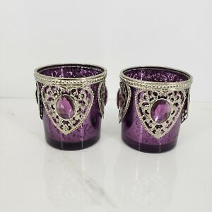 Set Of 2 Jewel Embellished Colorful Votives Diwali Decor EUC