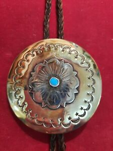 BOLO TIE: Sterling & Brass w/ Turquoise on Horse Hair, 1 of 1, cowboy, Horse,