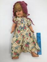 """16"""" COMPOSITION OPEN CLOSE EYES SHIRLEY TEMPLE STYLE DOLL Vintage 1930s"""