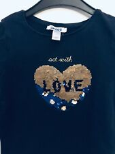 Okaidi Langarmshirt Größe D 104 Marine Herz Wendepailletten Pailletten T-Shirt #