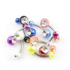Belly Button Ring Package of 9 Acrylic Balls Navel Rings, Surgical Steel Shaft