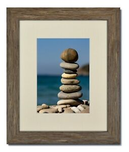 11x14 Rustic Blue Picture Frame, Glass & Warm White Mat for 8x12