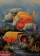 """Quality Oil Painting on Stretched Canvas 12""""x16""""-Fish in the Sea"""