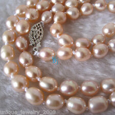 """34"""" 5-6mm Peach Pink Rice Freshwater Pearl Necklace Natural Color Strand"""