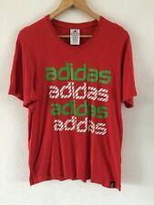 ADIDAS COTTON T Shirt Top Taglia M rosso con logo su fronte < R9105