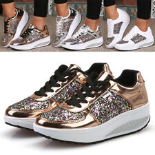 Women Sequin Ankle Boots Casual Wedge Heel Trainers Bling Sneakers Lace up Shoes