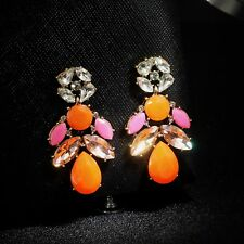 Boucle d`Oreilles Fashion Clous Doré Rose Orange Corail Cristal Goutte Retro A8