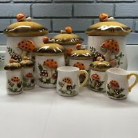 9 Piece Vintage Merry Mushroom Canister Set, Sears, Roebuck and Co. 1978-1983