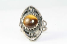VTG 1960'S ISRAEL STERLING SILVER FILIGREE TIGERS EYE TALL RING