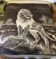 San Marcos Lion Reversible Blanket Brown Beige Tan Heavy Thick 92 x 82