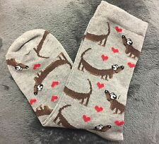 LADIES DACHSHUND SAUSAGE DOG RED HEARTS GREY ANKLE SOCKS ONE SIZE BN