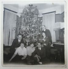 Antique Christmas Tree Photo Dresden Ornaments Tinsel Winter Street 1910's