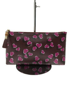 GUCCI Pouch Zip Total Pattern Bamboo Pull Heart PVC Bordeaux from Japan Used