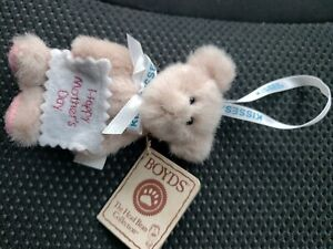 "MINI PLUSH BOYDS HERSHEY KISSES HAPPY MOTHER'S DAY PINK BEAR ORNAMENT 4"" MAW"