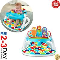 Soft Baby Support Multicolor Deluxe Sit-Me-Up Floor Seat with Toy Tray NEW