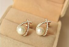 Women Lady's Elegant Alloy Crystal Gold Plated Pearl Curve Ear Stud Earrings