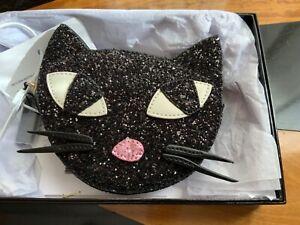 LULU GUINNESS Kooky Cat Glitter coin purse black NWT