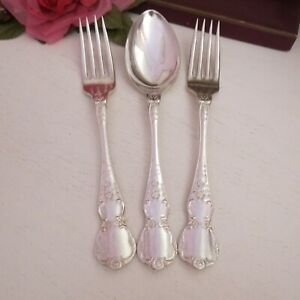 Vintage silver plate serving spoon & two forks Rodd Camille