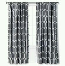 Threshold One Light Blocking Gray Geo Trellis Window Panel ~ 54x84 ~ Lined
