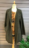 "LAGENLOOK BOUCLE A-LINE LONG COAT/JACKET*OLIVE**BUST UP TO 50"" 12-20uk ITALIAN"