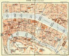 France. lyon (centre de la ville) 1926 anciennes vintage carte plan graphique