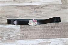 jolie ceinture cuir noir HELLO KITTY taille 46 fr 50i 115 X 3,8 cms COMME NEUVE