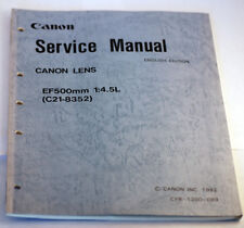 Canon Lens Service Manual for EF 500mm 1:4.5L 1992 English Complete (C21-8352)