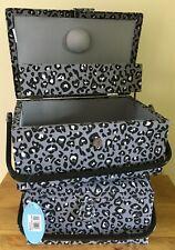 SEWING BASKET BOX 'Leopard' Design Black & Grey  2 STYLES SUPER QUALITY