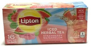 Lipton Tea Bags For Iced Strawberry Watermelon Herbal Tea 16 Ct Family Size