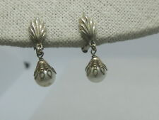 "Vintage 1930's Pearl Dangle Clip Earrings, 1"", Gold Tone Filigree Caps"