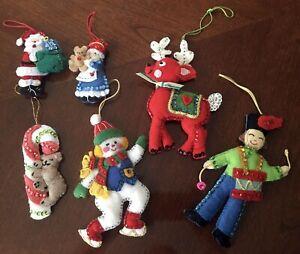6 Vtg Sequin & Bead Felt Handmade Christmas Ornaments Snowman Reindeer Santa ++