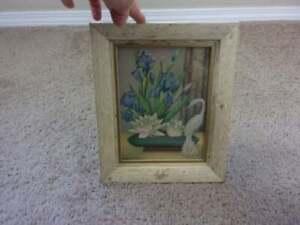 Vintage Framed Print Flowers Bird MCM