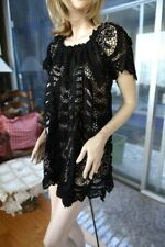 LIM'S Vintage Intricate Hand Crochet Beaded Dress Color Black One Size