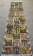 New Block Design Silk Area 2' x 10' Rug Oriental Carpet Hand Made Afghan